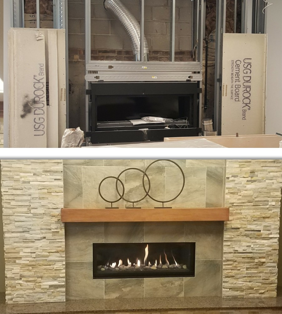 Before & After Linear Fireplace Installation